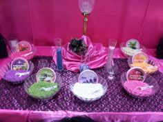 #Candle Bar! Different bowls of small, scented wax beads. There are small votives and little wicks and cards with recommended scents to layer. Good way to personalize the wedding favor. (do the basics like vanilla, rose, lavender, mint, fresh cotton, etc.)