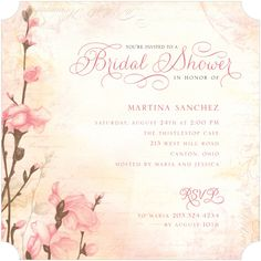 Romantic Buds - Signature White Textured Bridal Shower Invitations in Bisque or Lavender | Lady Jae