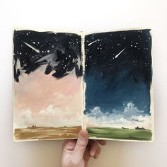 1 canoe 2. Lovely night sky journal pages