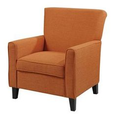"Set this colorful arm chair in a corner to create a cozy reading nook, or let it add a bright pop to your master suite ensemble.    Product: ChairConstruction Material: Wood and fabricColor: Orange and cappuccino  Features: Flared backDimensions: 37"" H x 31"" W x 33"" D"