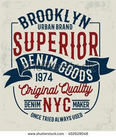 Vintage denim label design, t-shirt graphics, vectors
