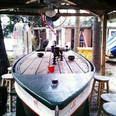 Boat Table in the Yard Boat bar made from old wooden boat