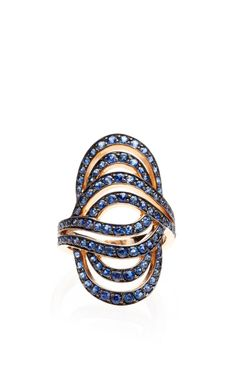 Sapphire Ring In 18K Rose Gold by Lily Gabriella for Preorder on Moda Operandi