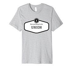 Mens Born and Raised Union Black Fitted Premium TShirt 2X...