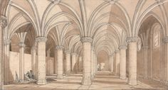 1820 The Barons' Hall, Mont Saint Michel graphite and wash Norwich School, Dutch Golden Age, Normandy France, Church Interior, Mont Saint Michel, Art Google, Great Artists, Printmaking, Illustrators