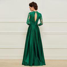 Dressv Hijau Panjang Ibu Dari Gaun Pengantin Tiga Perempat Lengan Renda  Bunga Sederhana Elegan Kustom A Line Wedding Party Dress 40830a252d41