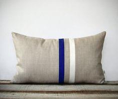Cobalt and Cream Striped Lumbar Pillow (12x20) Modern Home Decor by JillianReneDecor   Indigo Blue