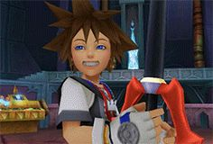 I remember seeing this scene for the first time and how Sora smiled to mask how sad he felt because he knew what he was about to do . I cried. Key Of Light, Sora And Kairi, Sora Kingdom Hearts, Heart Art, Best Games, In This World, Destiny, Videogames, Childhood