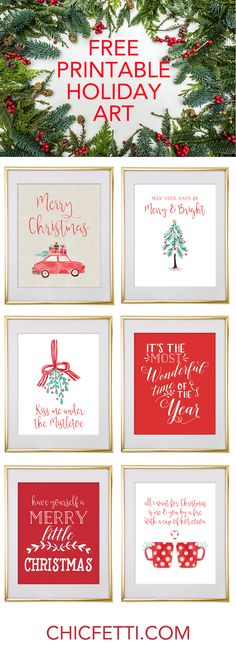 Free Printable Holiday Christmas Wall Art from @chicfetti
