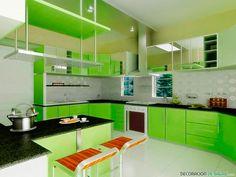 cocina en verde vibrante
