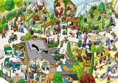 wimmelbild zoo | zoo vorschule, kunst grundschule, zootiere