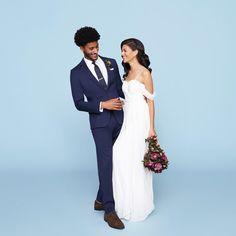 Man in blue men's wedding suit with bride in gown. Celebrity Wedding Photos, Celebrity Weddings, Wedding Men, Wedding Suits, Black Tux, Groom Outfit, Bridesmaid Dresses, Wedding Dresses, Marriage
