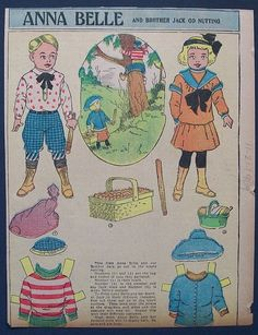 Anna Belle and Brother Jack Go Nutting paper doll / Ebay