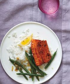 Brown Sugar-Glazed Salmon With Green Beans and Shallots from realsimple.com #myplate #protein #vegetables