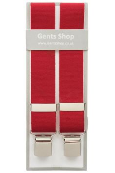 Plain Red Elastic Trouser Braces With Large Clips Mens Trouser Braces a479f7840