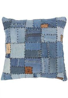 Truhome Fashionista Denim Patchwork Cushion Cover - Buy Home & Furniture Online Denim Furniture, Home Furniture Online, Jean Crafts, Denim Crafts, Patchwork Cushion, Denim Patchwork, Quilting Projects, Sewing Projects, Denim Ideas