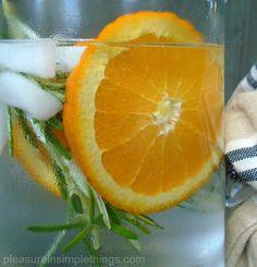 home infused water — orange rosemary- on the blog pleasure in simple things