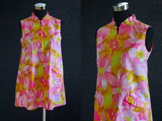 Vintage Dress 70s Dress Flower Power Hippie Short Mod Dress Neon Daisy Dress PSYCHEDELIC Dress Cotton Dress Tent Dress epsteam