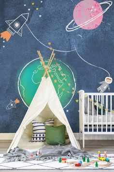 Looking for a beautiful mural for your little explorer? This dazzling space wallpaper is full of charm and character. Set against a blue watercolour backdrop, an adorable astronaut floats along with illustrative planets. Perfect for gender neutral nurseries.