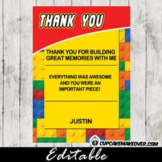 Lego 5x7 Editable Thank You Notes – INSTANT DOWNLOAD. #cupcakemakeover