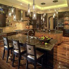 Homeinnovationsok.com likes.....Kitchen, islands, lighting
