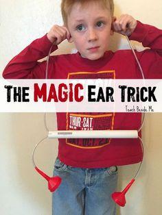 Magic Ear Trick Hearing Activity- The Ear Book Senses Activities, Science Activities For Kids, Hands On Activities, Science Projects, Learning Activities, Senses Preschool, Stem Projects, Science Fun, Preschool Science
