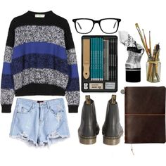 Grunge Art by emc1397 on Polyvore featuring moda, STELLA McCARTNEY, Dr. Martens, Oliver Peoples, Aesop, Summer, shorts, grunge, art and edgy