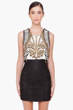 Balmain Handmade Embroidered Silk Crop Top for women   SSENSE