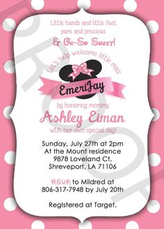 Baby+Shower+Minnie+Mouse+Invitations+by+JennMccownDesigns+on+Etsy,+$15.00