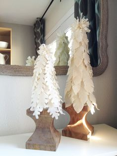 Homemade, DIY Felted Christmas trees made to look like Wisteria Nesting Felt Trees. Easy and fun Christmas craft for holiday decor