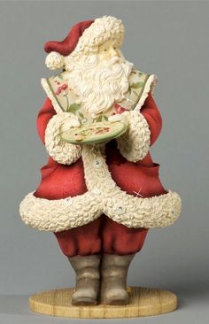 Enesco Heart of Christmas Santa with Tablet and Elf Figurine ...