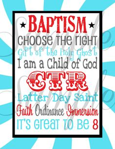 Its GREAT to be 8 LDS Baptism Subway Art  by LemonSqueezeDesigns, $3.99