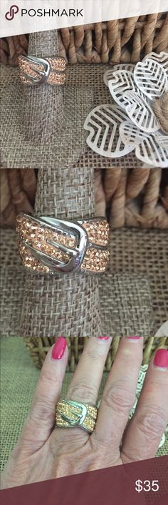 Sz 7 Peach Austrian Crystal Buckle Ring Beautiful summery peach colored Austrian crystals set in cool substantial stainless steel,  Sz 7, new with tags. R36 Jewelry Rings