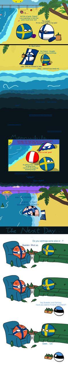 Nordic Beach Vacation ( Finland, Sweden, Russia, Estonia ) by JDFingers #polandball #countryball