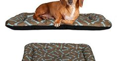 Dog Crate Pad Bolster Bed Pet Mat Waterproof, 24″ x 18″ Small Brown and Blue Bon… Review