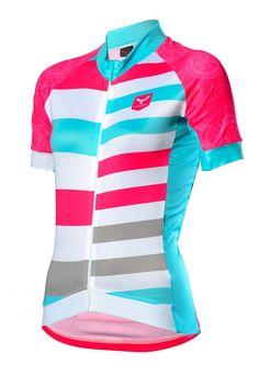 Maillot de mujer manga corta para hacer ciclismo B200-SHOP (COLORFULL) | Taymory