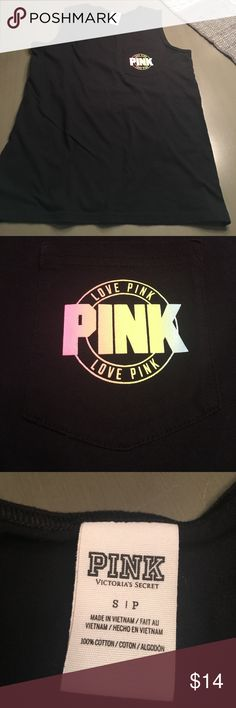 Black pink brand tank. Size small Black pink brand tank size small would also fit medium. No holes rips or stains. In really good shape. Smoke free home. PINK Victoria's Secret Tops Tank Tops