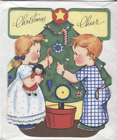 Unused Vintage 1930 - 40s Christmas Card :Children Decorating the Tree- Die Cut