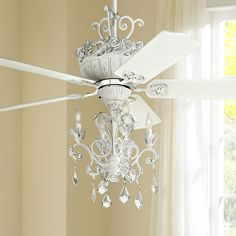 52 Casa Chic Rubbed White Chandelier LED Ceiling Fan - Ceiling Fans - Ideas of Ceiling Fans Ceiling Fan Chandelier, White Ceiling Fan, Chandelier Bedroom, White Chandelier, Led Ceiling, Chandeliers, Girls Ceiling Fan, Girls Chandelier, Chandelier Makeover
