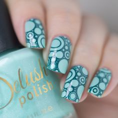 Love this gorgeous mani using Delush Polish's Dazed & Enthused Plate over Hello... Is It Tea You're Looking For nail polish