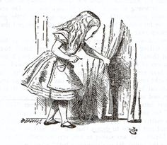 Alice, key in hand, finds the door to Wonderland - Wood-engraving by Dalziel / Illustration for the first chapter of Lewis Carrolls Alice in Wonderland