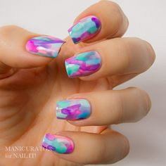 Watercolor Nail Art for NAIL IT! magazine with China Glaze Sunsational Jellies