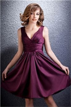 Solana - Vestido Dama de Honor Corto/Mini Cuello en V Veronika's 5018
