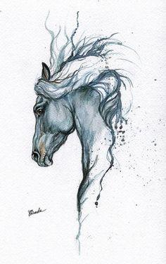 Enmarcado original acuarela pintura caballo del por AngelHorses