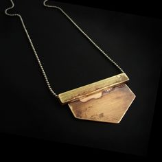 Zeus Necklace || Unisex Jewelry by Vivid Venus #metalwork #metal #jewelrydesigner #fashion #lookbook #brass #copper #silver #statement #gift #inspiration #geometric #modern #triangle #shield #edgy #chestpeice #rustic