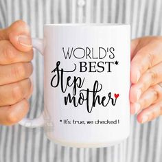 "Funny stepmom birthday gift, ""World's best stepmother"" coffee mugs, christmas gifts for stepmom, stepmother of the bride gift, groom MU382 by artRuss on Etsy"