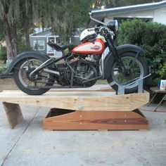 Photo by Gerry Lyons Motorcycle Lift Table, Motorcycle Wiring, Motorcycle Workshop, Motorcycle Trailer, Motorcycle Shop, Motorcycle Garage, Simson Moped, Garage Organisation, Classic Harley Davidson