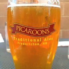 Picaroons, New Brunswick. If you have a chance to have some, don't hesitate! Well worth going to Frederiction just for the beer! Canadian Beer, Beer Store, New Brunswick, Places To Eat, Pint Glass, New Recipes, Ontario, Ale, Wellness