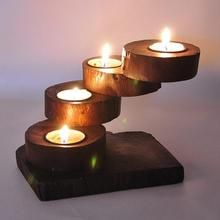 wood candlestick on sale at reasonable prices, buy Creative personality handmade wooden candlesticks/ Southeast Asia wood long table Candlestick/ multilayer Candlestick from mobile site on Aliexpress Now! Rustic Candles, Tea Light Candles, Tea Lights, Cheap Candle Holders, Wooden Candle Holders, Wooden Projects, Wooden Crafts, Wood Gifts, Handmade Wooden