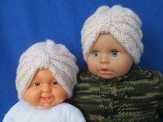 Infant knit baby girl turban  crochet baby turban by Ritaknitsall